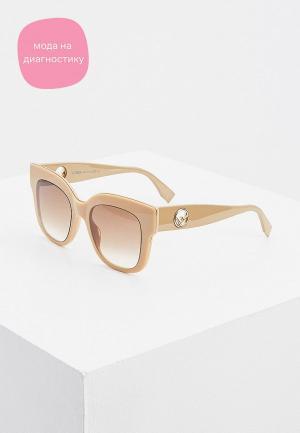Очки солнцезащитные Fendi. Цвет: бежевый