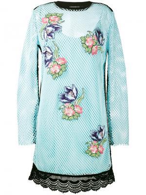 Сетчатое платье с цветочным декором House Of Holland. Цвет: синий