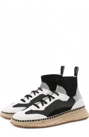 Текстильные кроссовки на джутовой подошве Alexander Wang. Цвет: черно-белый