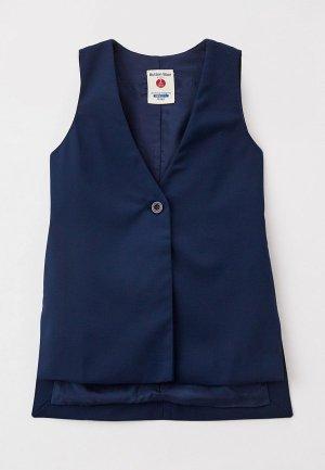 Жилет Button Blue. Цвет: синий