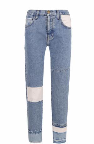 Укороченные джинсы прямого кроя с потертостями Current/Elliott. Цвет: голубой