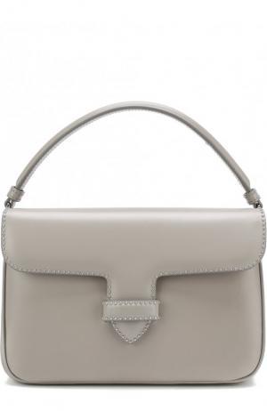 Кожаная сумка с заклепками Alaia. Цвет: серый