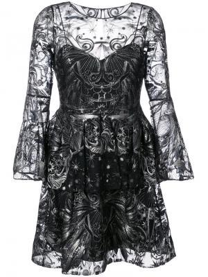 Тюлевое платье с отделкой пайетками Marchesa Notte. Цвет: чёрный