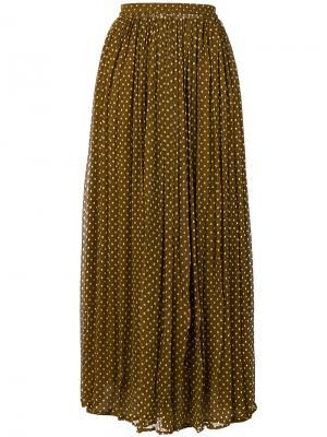 Плиссированная юбка в горошек Mes Demoiselles. Цвет: коричневый