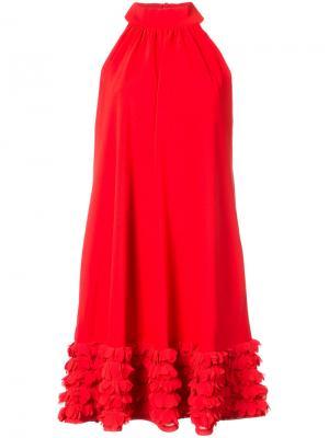 Платье с оборками Badgley Mischka. Цвет: красный