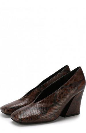 Кожаные туфли на массивном каблуке Dries Van Noten. Цвет: коричневый