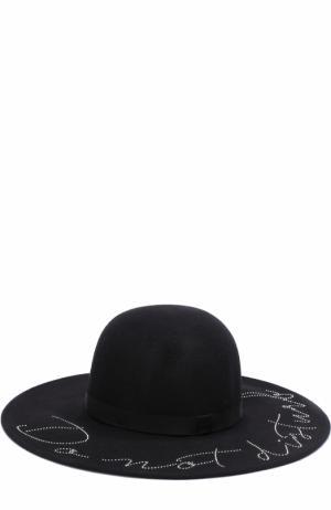 Шерстяная шляпа с отделкой стразами Eugenia Kim. Цвет: черный