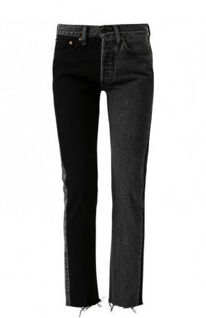 Укороченные джинсы прямого кроя с потертостями Vetements. Цвет: черный