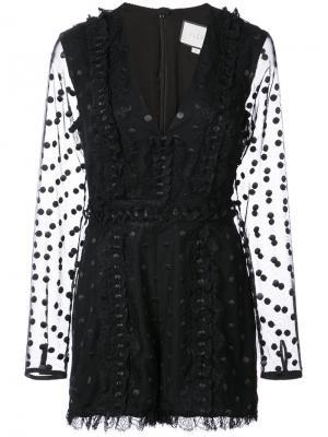 Кружевной комбинезон с вышивкой Alexis. Цвет: чёрный