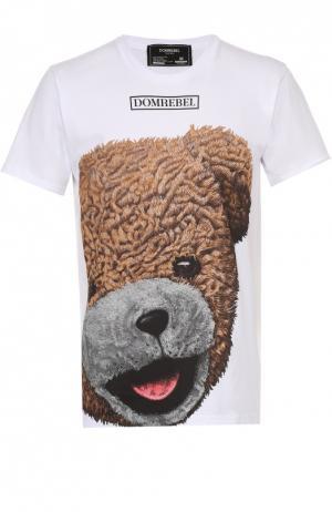 Хлопковая футболка с принтом Dom Rebel. Цвет: белый