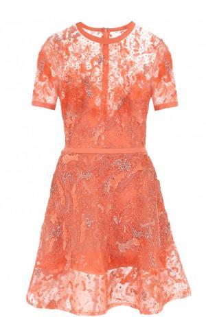 Приталенное мини-платье с вышивкой Elie Saab. Цвет: коралловый