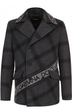 Шерстяной укороченный бушлат Dolce & Gabbana. Цвет: серый