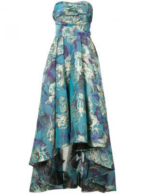 Парчовое платье с цветочным узором Marchesa Notte. Цвет: синий