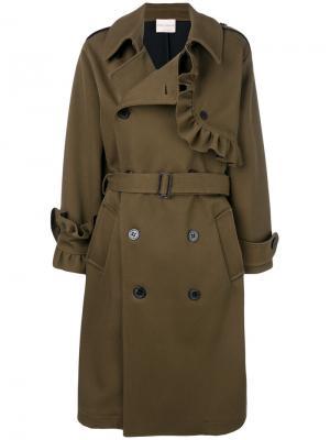Двубортное пальто с отделкой из рюшей Erika Cavallini. Цвет: коричневый