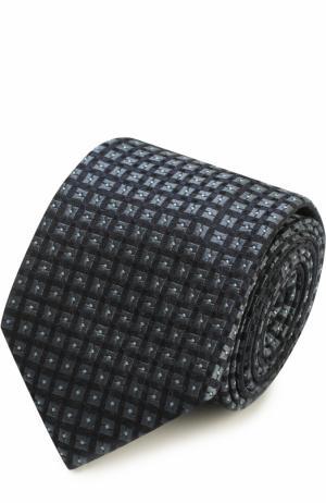 Шелковый галстук с узором Ermenegildo Zegna. Цвет: темно-синий