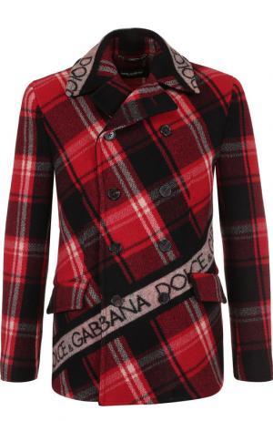 Укороченный шерстяной бушлат с логотипом бренда Dolce & Gabbana. Цвет: красный