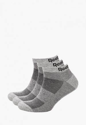 Носки 3 пары Reebok. Цвет: серый
