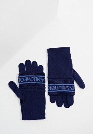 Перчатки Emporio Armani. Цвет: синий