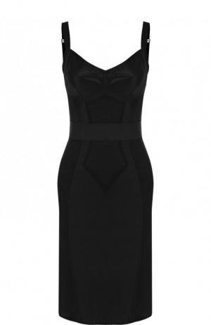 Приталенное платье-бюстье с кружевной отделкой Dolce & Gabbana. Цвет: черный