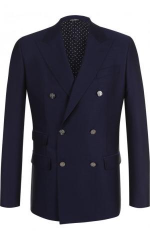 Двубортный шерстяной блейзер Dolce & Gabbana. Цвет: синий