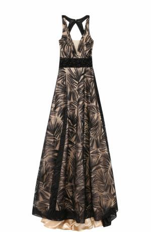 Платье-макси с подолом и открытой спиной Basix Black Label. Цвет: черный