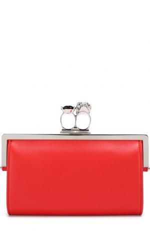 Кожаный клатч на цепочке Alexander McQueen. Цвет: красный