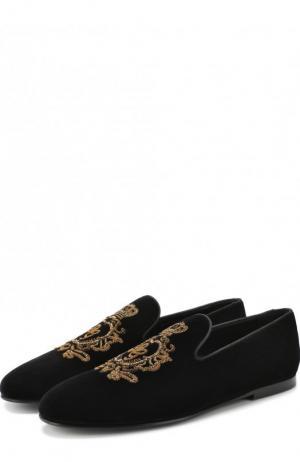 Текстильные слиперы Young Pope с вышивкой Dolce & Gabbana. Цвет: черный