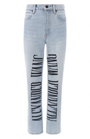 Укороченные джинсы с логотипом бренда Denim X Alexander Wang. Цвет: голубой