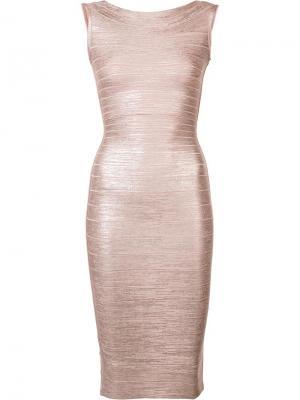 Приталенное платье без рукавов Hervé Léger. Цвет: телесный