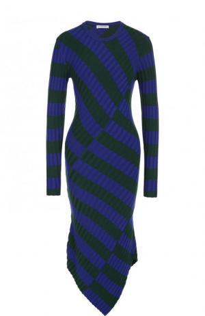 Вязаное платье-миди асимметричного кроя в полоску Altuzarra. Цвет: разноцветный